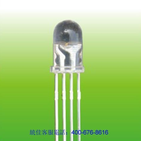 直插(cha)5mm圓(yuan)頭三色led燈珠(zhu)